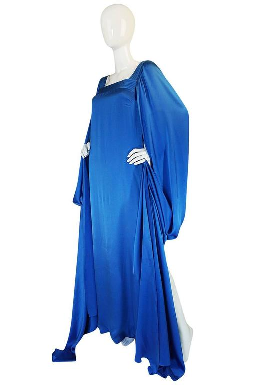 A/W 1978 Christian Dior Numbered Haute Couture Blue Silk Dress 3