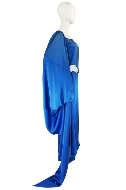 A/W 1978 Christian Dior Numbered Haute Couture Blue Silk Dress For Sale 3