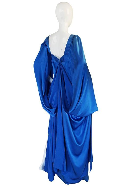Women's A/W 1978 Christian Dior Numbered Haute Couture Blue Silk Dress For Sale