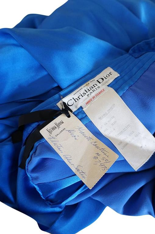 A/W 1978 Christian Dior Numbered Haute Couture Blue Silk Dress 10