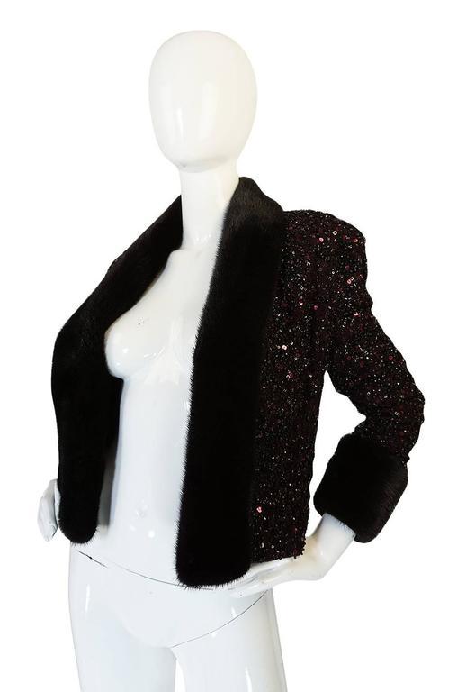 1980s Glossy Mink Trim Sequin John Anthony Silk Jacket 3
