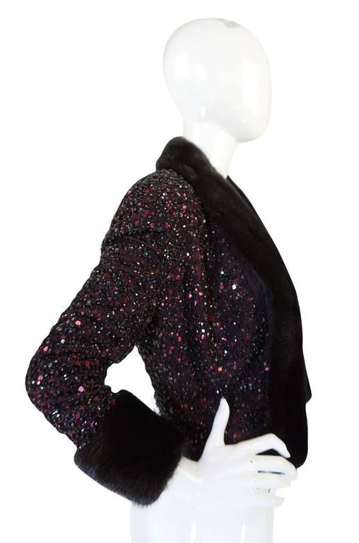 1980s Glossy Mink Trim Sequin John Anthony Silk Jacket 4