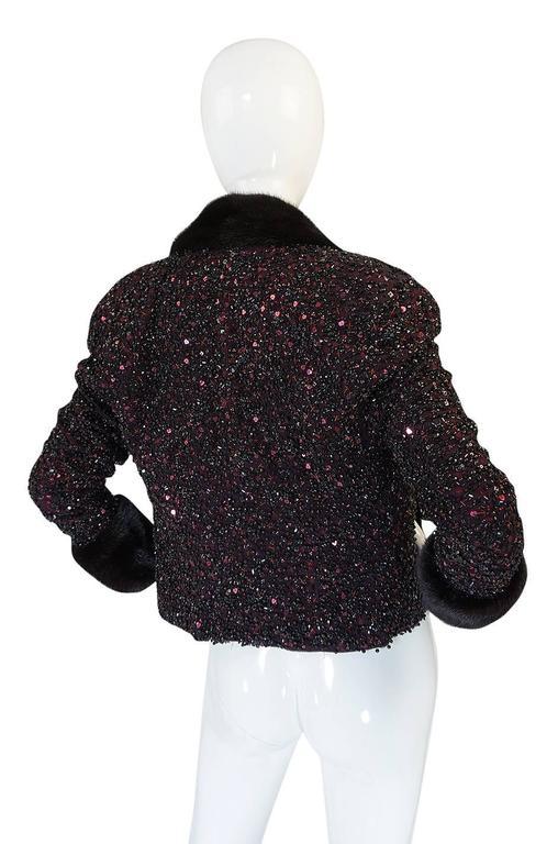 1980s Glossy Mink Trim Sequin John Anthony Silk Jacket 2
