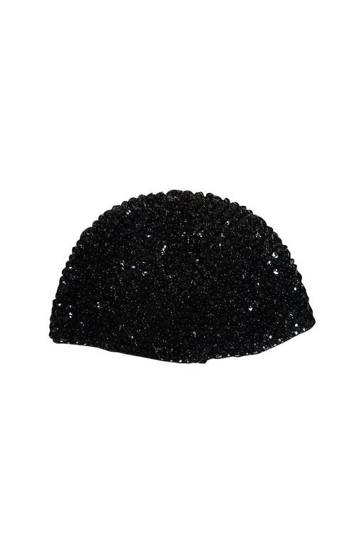 Rare 1970s Halston Glossy Black Sequin Skull Cap Cloche For Sale 1