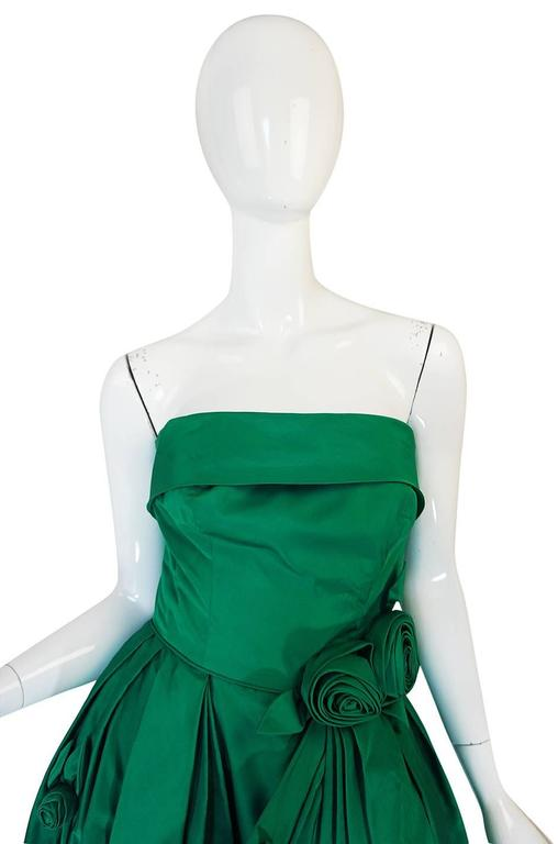 1950s Suzy Perette 3D Flower Applique Green Silk Dress For Sale 1