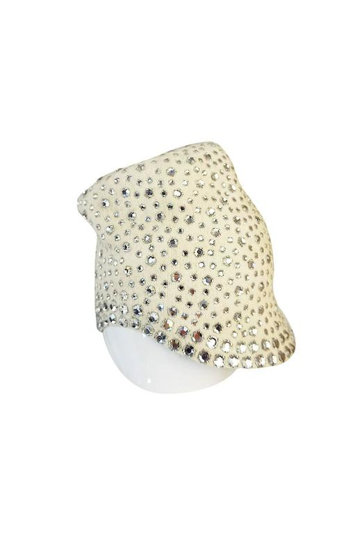 Beige 1960s Dorothy McGuire Owned Rhinestone Studded Cream Cloche For Sale