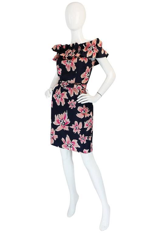 1980s Christian Dior Off Shoulder Floral Print Dress 3