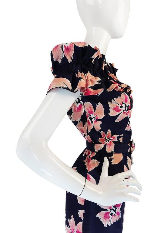 1980s Christian Dior Off Shoulder Floral Print Dress 7