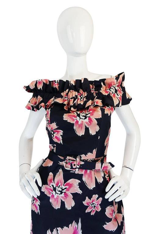 1980s Christian Dior Off Shoulder Floral Print Dress 4