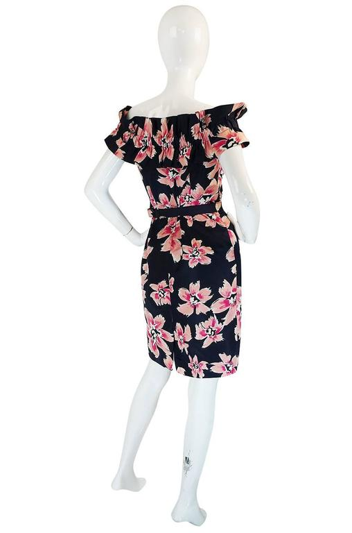 1980s Christian Dior Off Shoulder Floral Print Dress 2