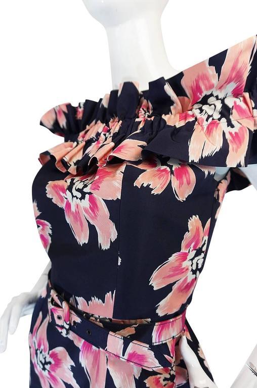 1980s Christian Dior Off Shoulder Floral Print Dress 6