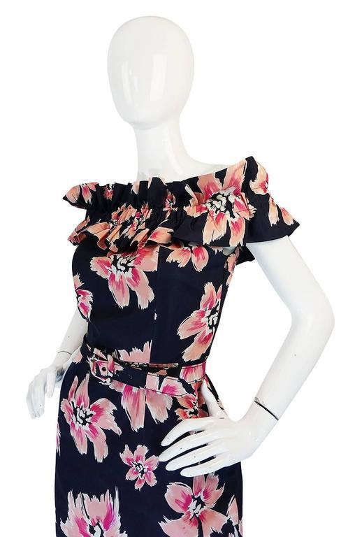1980s Christian Dior Off Shoulder Floral Print Dress At