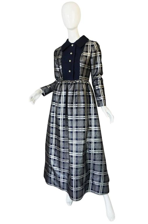 1960s Navy Silk & Silver Metallic Oscar de la Renta Dress 3