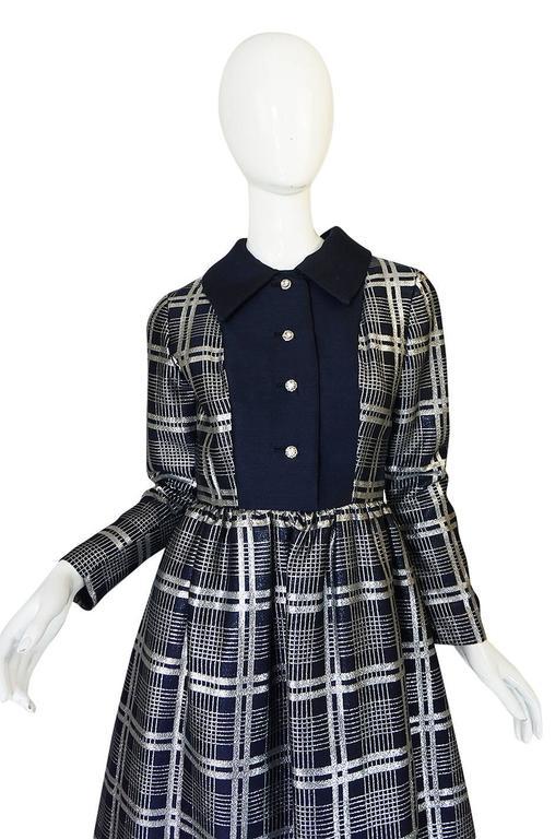 1960s Navy Silk & Silver Metallic Oscar de la Renta Dress 4
