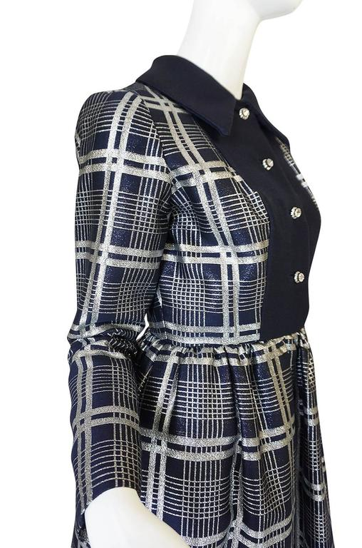 1960s Navy Silk & Silver Metallic Oscar de la Renta Dress 6