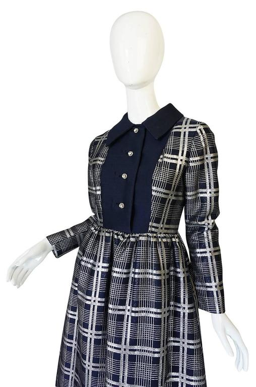 1960s Navy Silk & Silver Metallic Oscar de la Renta Dress 5