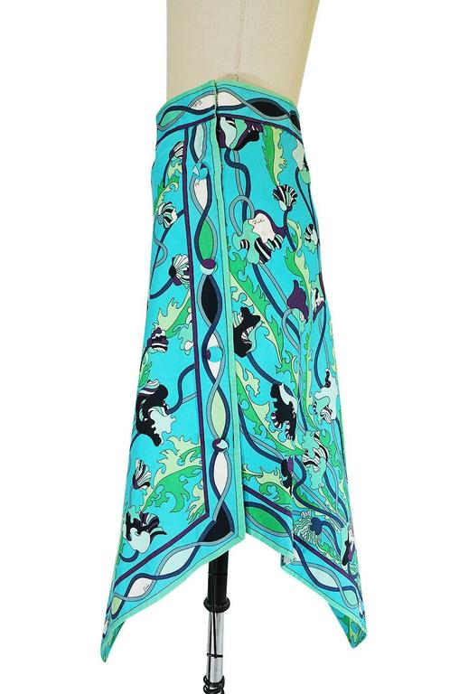 1960s Larger Cotton Turquoise Print Emilio Pucci Skirt 4
