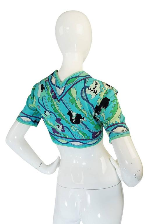 1960s Turquoise Print Cotton Emilio Pucci Cropped Top 2