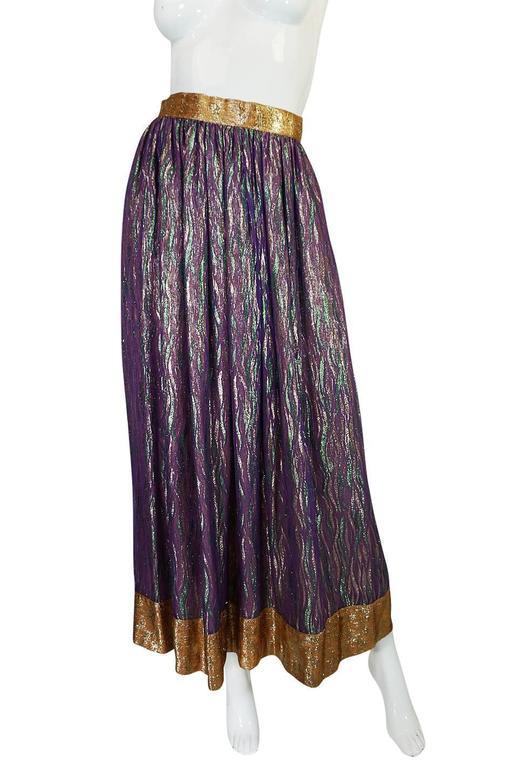 1970s Adolfo Metallic Gold and Purple Silk Skirt & Top Set 6
