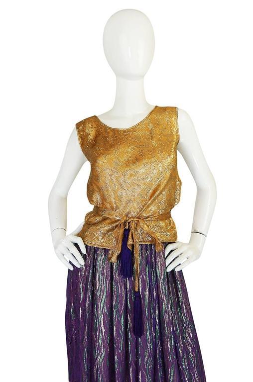 1970s Adolfo Metallic Gold and Purple Silk Skirt & Top Set 4