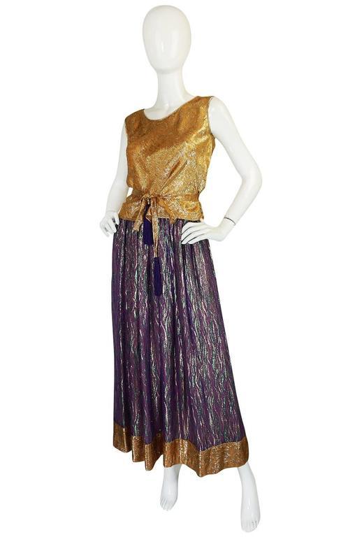1970s Adolfo Metallic Gold and Purple Silk Skirt & Top Set 3