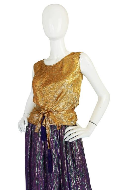1970s Adolfo Metallic Gold and Purple Silk Skirt & Top Set 5