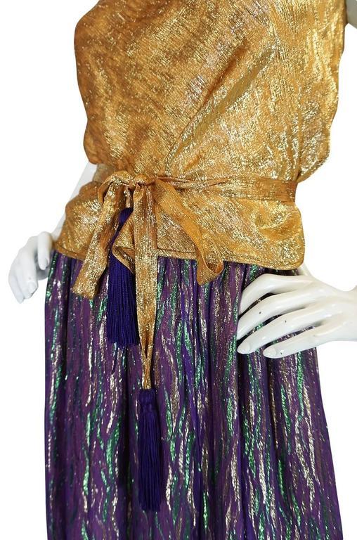 1970s Adolfo Metallic Gold and Purple Silk Skirt & Top Set 7