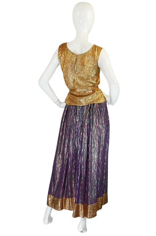 1970s Adolfo Metallic Gold and Purple Silk Skirt & Top Set 2