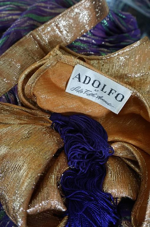 1970s Adolfo Metallic Gold and Purple Silk Skirt & Top Set 8