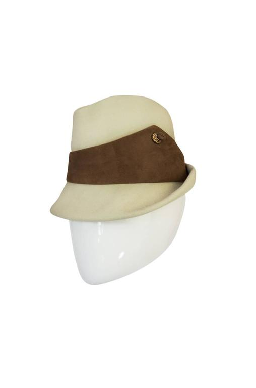 Beige 1960s Chic Taupe and Cream Christian Dior Fedora Hat For Sale
