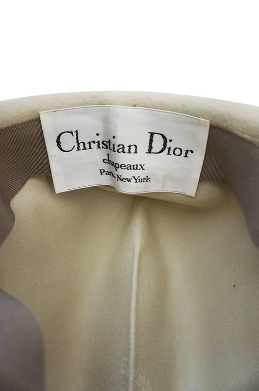 1960s Chic Taupe and Cream Christian Dior Fedora Hat For Sale 1