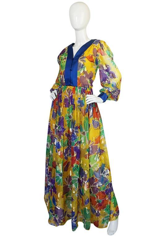 1970s Givenchy Floral & Heart Print Silk & Metallic Dress 3