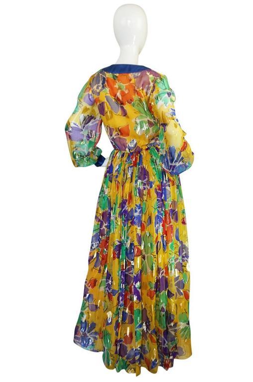 1970s Givenchy Floral & Heart Print Silk & Metallic Dress 2
