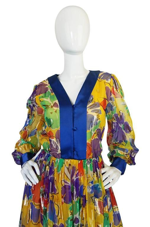 1970s Givenchy Floral & Heart Print Silk & Metallic Dress 4