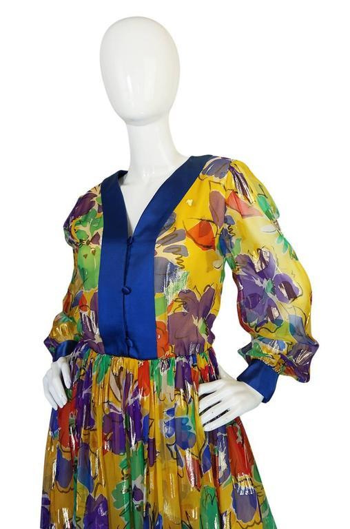 1970s Givenchy Floral & Heart Print Silk & Metallic Dress 5