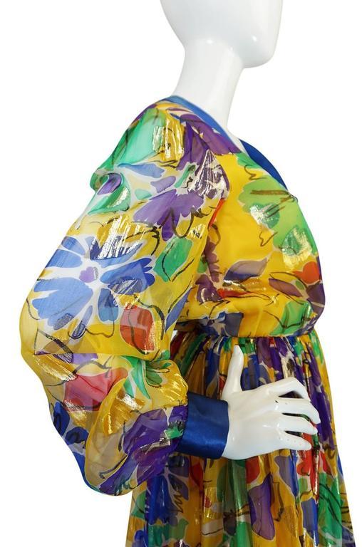 1970s Givenchy Floral & Heart Print Silk & Metallic Dress 7