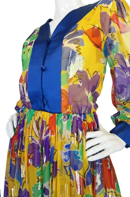 1970s Givenchy Floral & Heart Print Silk & Metallic Dress 6