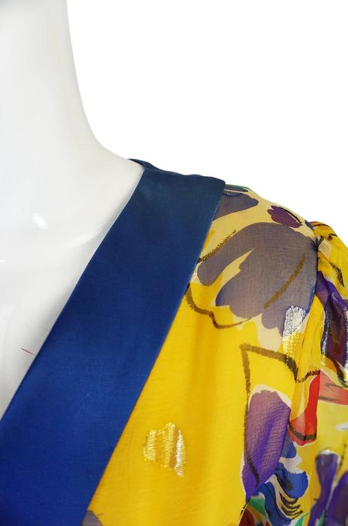 1970s Givenchy Floral & Heart Print Silk & Metallic Dress 8