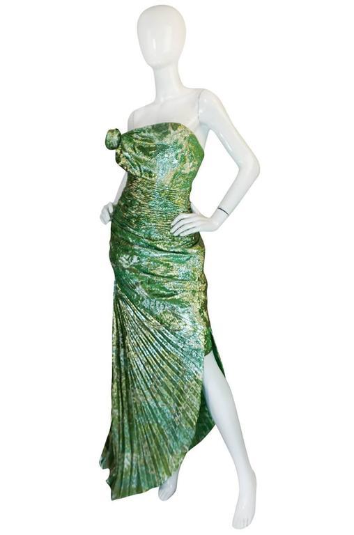 Gray Incredible 1980s Green & Gold Silk Metallic Ungaro Dress For Sale