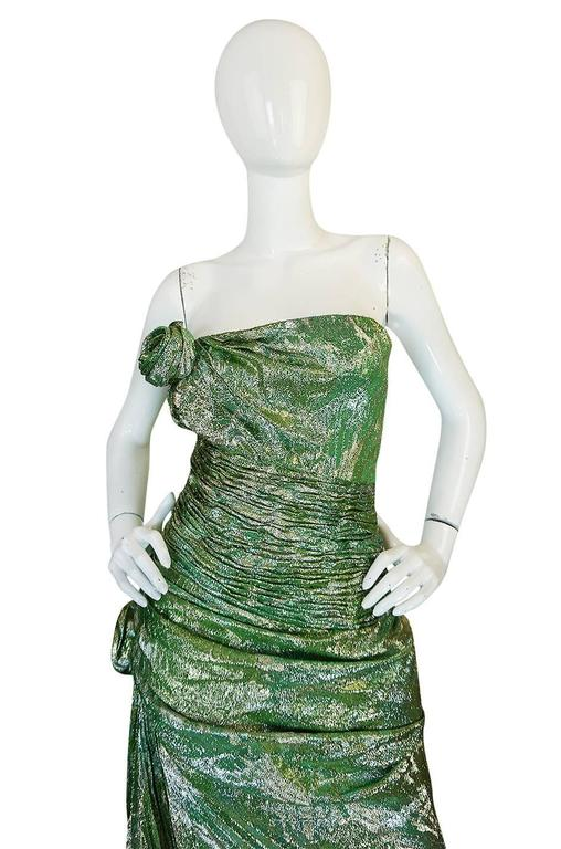 Incredible 1980s Green & Gold Silk Metallic Ungaro Dress For Sale 1