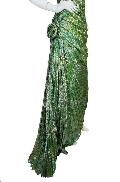 Incredible 1980s Green & Gold Silk Metallic Ungaro Dress For Sale 2