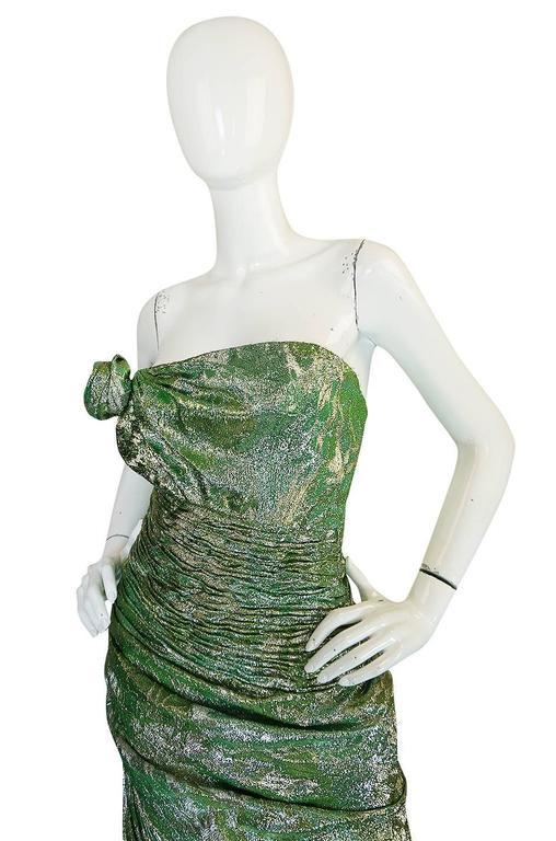 Women's Incredible 1980s Green & Gold Silk Metallic Ungaro Dress For Sale