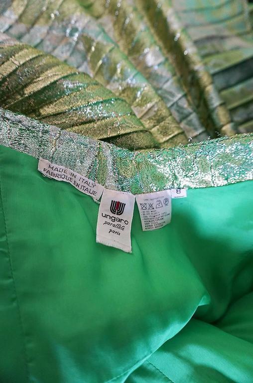 Incredible 1980s Green & Gold Silk Metallic Ungaro Dress For Sale 4