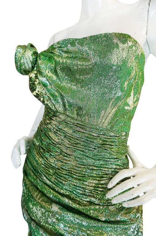 Incredible 1980s Green & Gold Silk Metallic Ungaro Dress For Sale 3