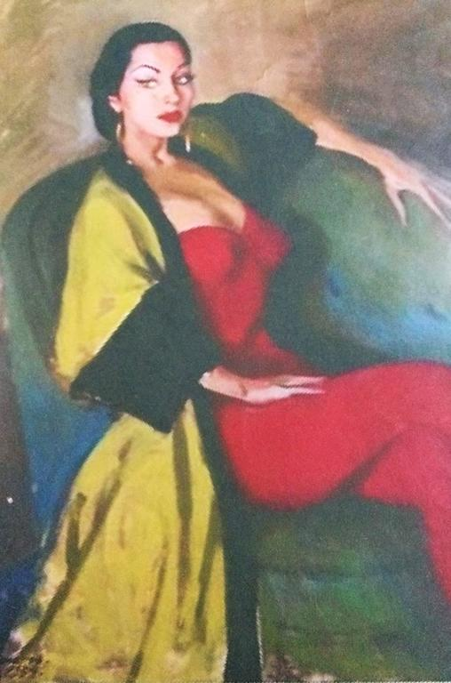 Documented 1950s Yma Sumac's Sophie Gimbel Silk Evening Coat Robe For Sale 4
