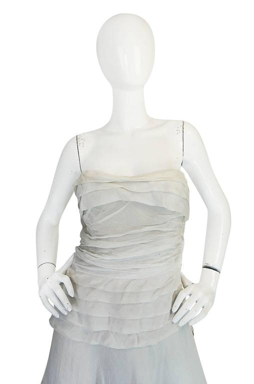 Gray 1950s Hardy Amies Couture Fine Silk Organza & Lace Dress For Sale