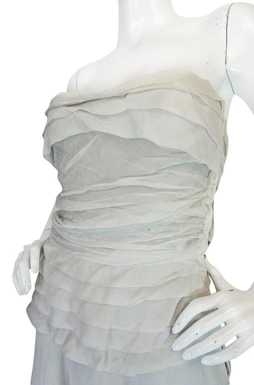 1950s Hardy Amies Couture Fine Silk Organza & Lace Dress In Good Condition For Sale In Toronto, ON