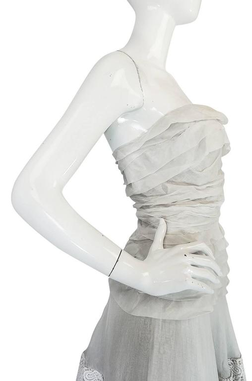 Women's 1950s Hardy Amies Couture Fine Silk Organza & Lace Dress For Sale