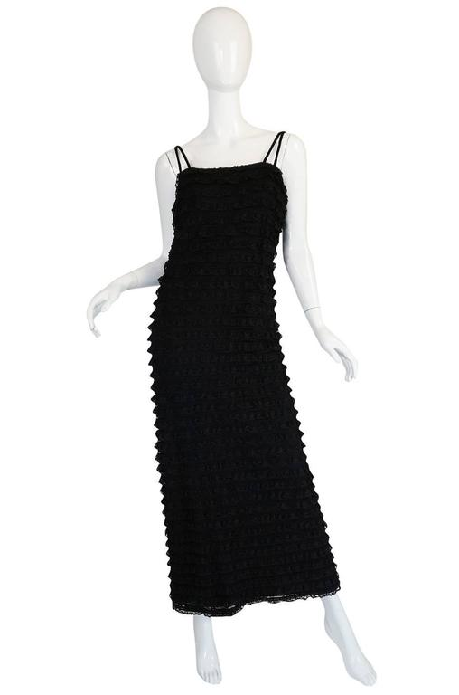1960s Black Lace & Net Simonetta Sheath Dress & Cape In Excellent Condition For Sale In Toronto, ON