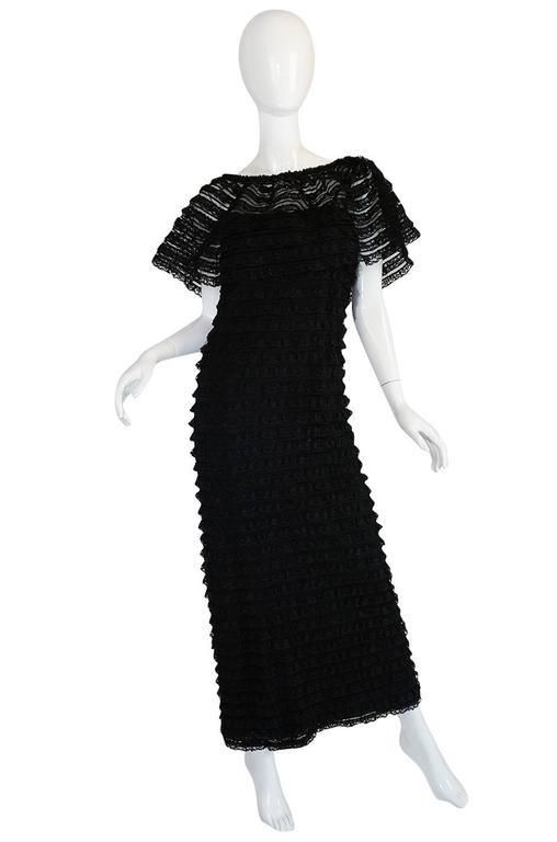 Women's 1960s Black Lace & Net Simonetta Sheath Dress & Cape For Sale